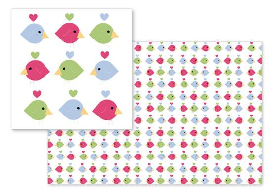 fabric - Love Birds by Clarine