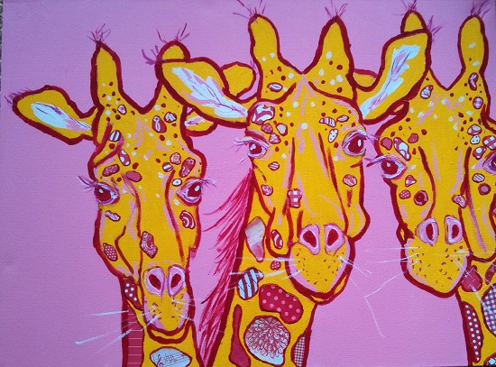 art prints - Three Yellow Giraffes by Susannah Raine-Haddad