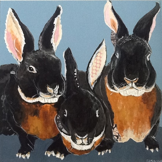art prints - Black Velvet Bunnies by Susannah Raine-Haddad
