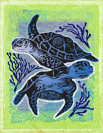 art prints - Sea Turtles by Judith Krimski