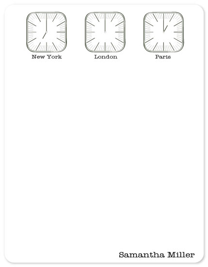 personal stationery - Time Zone Clocks by Julie Darrell