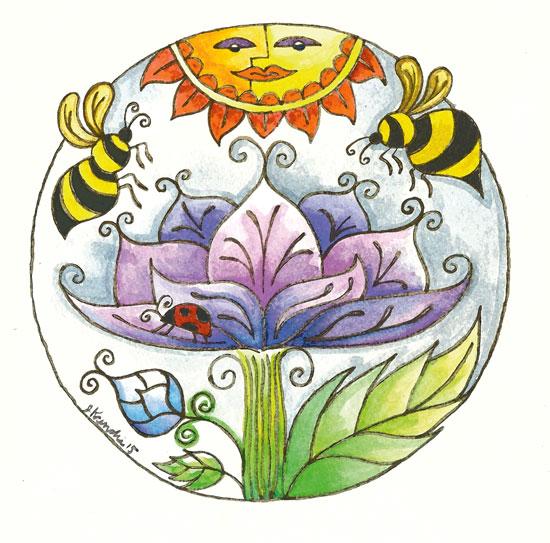 art prints - Lotus & Bee by Judith Krimski
