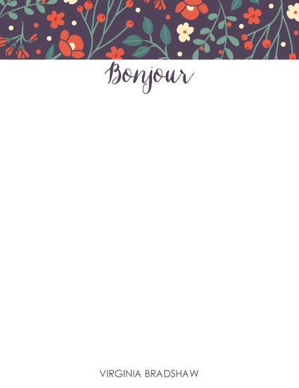 personal stationery - Floral Bonjour by Kristen DeAngelis