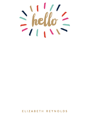 personal stationery - Bursting Hello by Sara Heilwagen