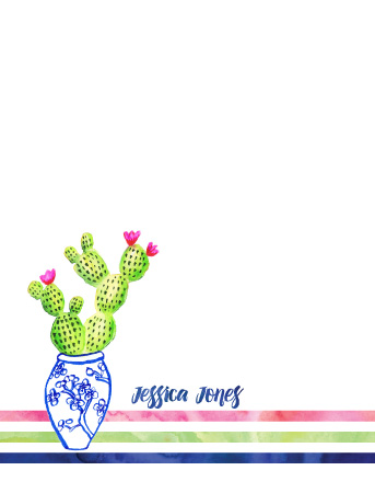 personal stationery - Cacti With Oriental Flair by Anneline Sophia
