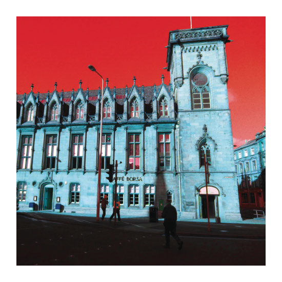 art prints - Blue building Red sky by Suzie Gilmour
