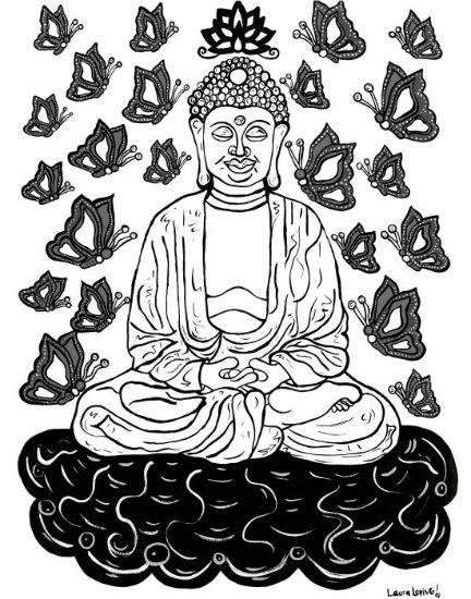 art prints - Buddha and the Butterflies by Laura Loving