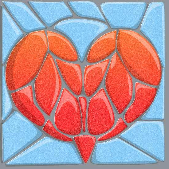 art prints - Stone Mosaic Heart by LD Gonzalez