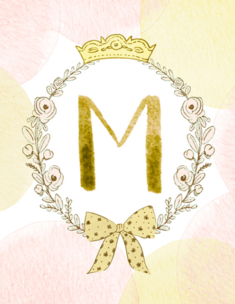 art prints - romantic initial by Monica Dustin