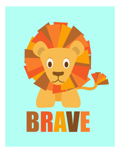 art prints - Brave Little Lion by Kirsten Alexis