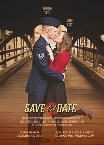 save the date cards - movie poster invitation by missadal