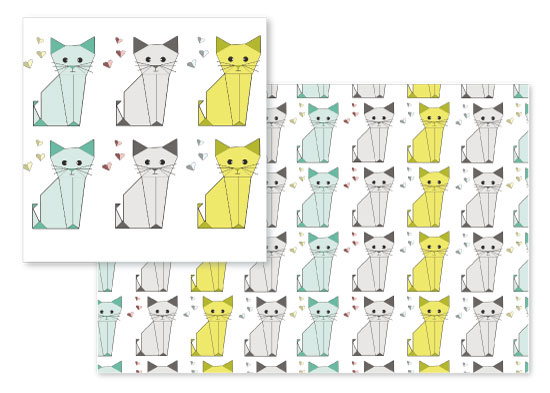 fabric - Origami Cats by Sweet Noting