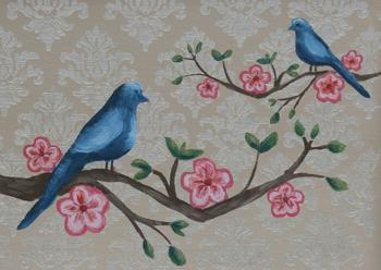 Bluebirds and Cherry Blossoms