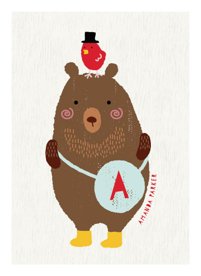 art prints - Little Bear and red bird by iamtanya