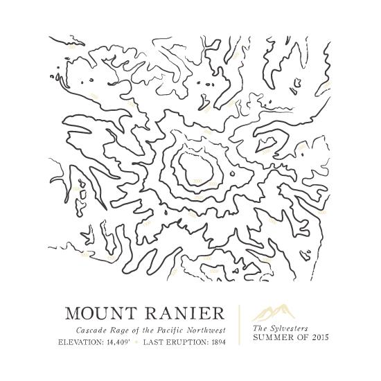 art prints - Inked Topography - Mount Rainier by Linda Misiura