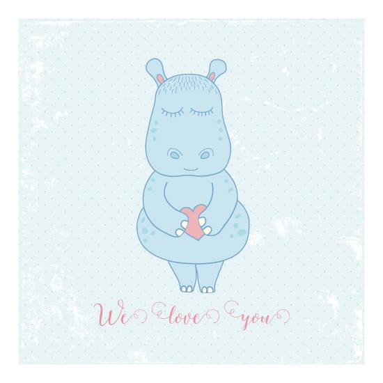 art prints - Cute hippo by Leysan Shayakbirova