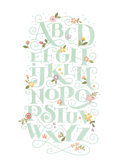 art prints - Blooming letters by Jennifer Wick