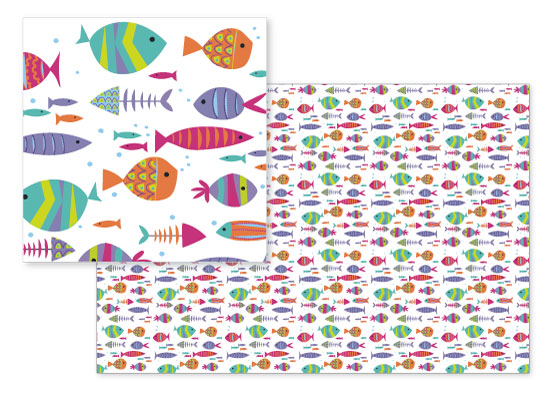 fabric - fish a swimmin' by A Tina Beans