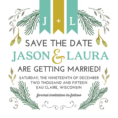 save the date cards - Evergreen Love by Jodi Stevens
