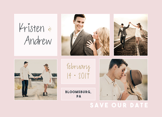 save the date cards - Blush Collage by A Design Studio