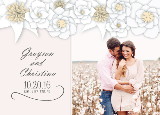 save the date cards - Over Sized Paper Flowers by Ashlee Bordes