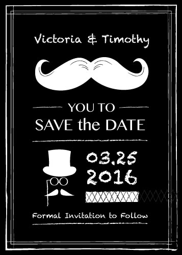 save the date cards - Mustache You by Laura Lea
