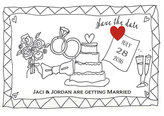 save the date cards - Color me a Wedding by Leslie Chalfont