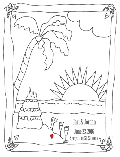 save the date cards - Color Me a Beach by Leslie Chalfont