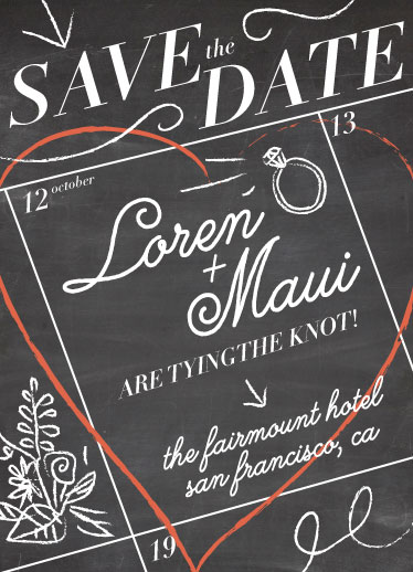 save the date cards - Chalkboard Memo by Lia Tin