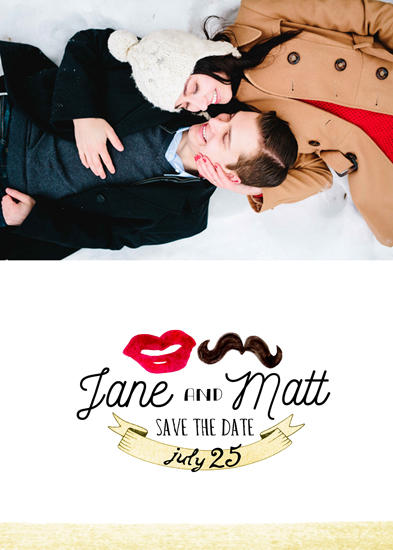 save the date cards - lips and mustache by Monica Dustin