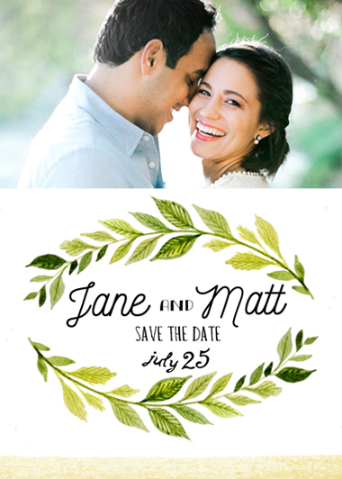 save the date cards - leaves by Monica Dustin