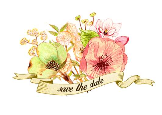 save the date cards - blossoms by Monica Dustin