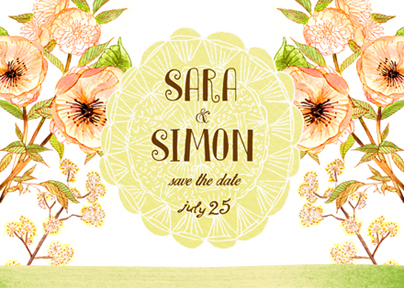 save the date cards - blossoms and lace by Monica Dustin