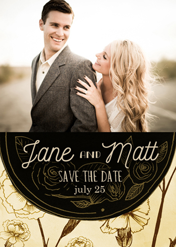 save the date cards - black and gold by Monica Dustin