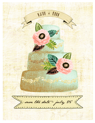 save the date cards - floral cake by Monica Dustin