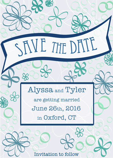 save the date cards - Retro Flowers by Niki Mangino