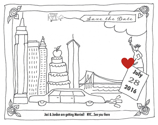 save the date cards - Color Me NYC by Leslie Chalfont