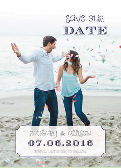 save the date cards - confetti with love by A Design Studio