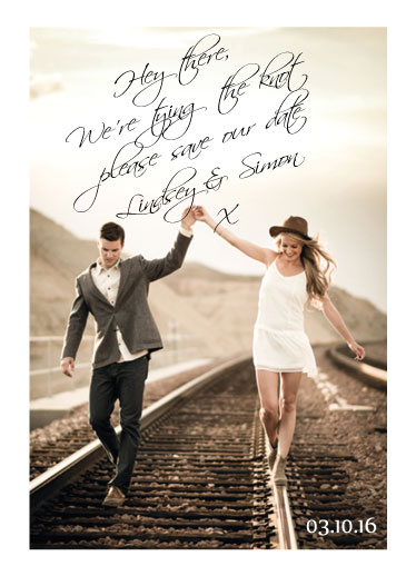 save the date cards - Hand written love story by Tammi