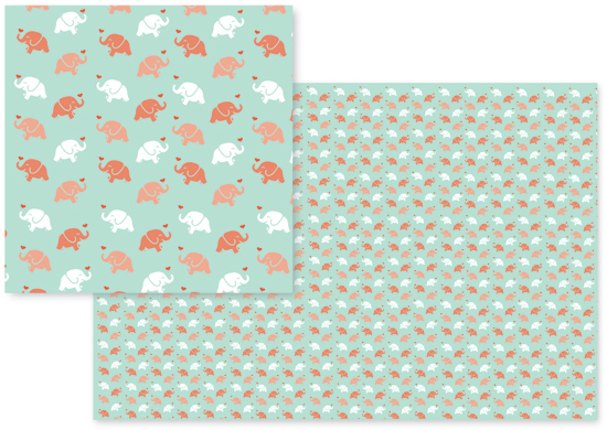 fabric - Sweet Little Elephants by Jessica Fadlevich