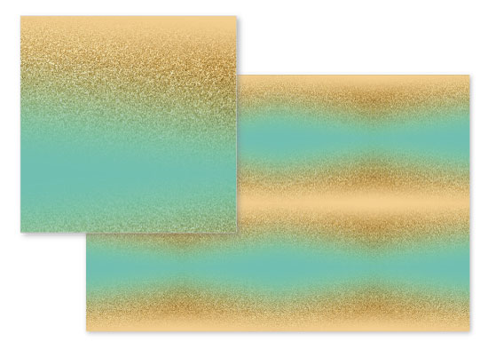 fabric - Gold Glitter Aqua Blue Gradient by Heather Doucette