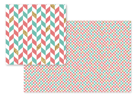 fabric - Mint Coral Gold Glitter Chevron Scatter by Heather Doucette
