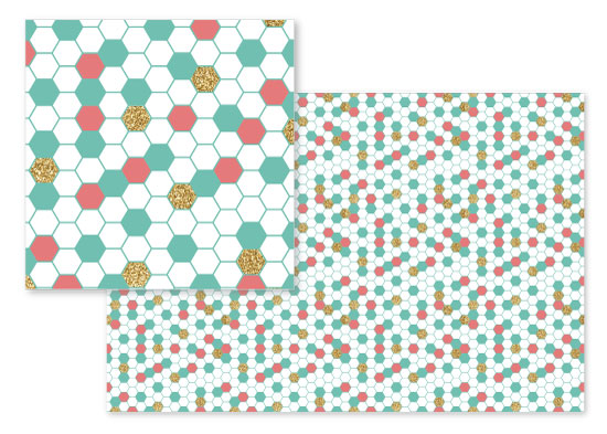fabric - Mint Coral Gold Glitter Hexagon Scatter by Heather Doucette