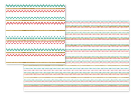 fabric - Mint Coral Gold Glitter Tiny Triangle Stripes by Heather Doucette