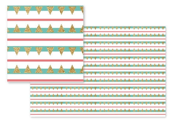 fabric - Mint Coral Gold Glitter Triangle Stripes by Heather Doucette
