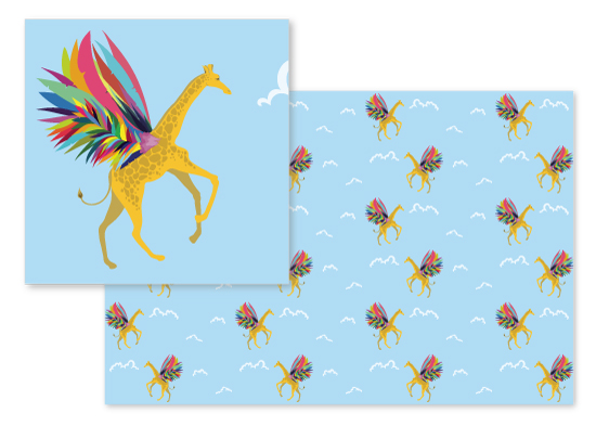 fabric - Giraffe on Rainbow Wings by Anabelle Roeser