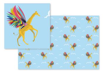 Giraffe on Rainbow Wings