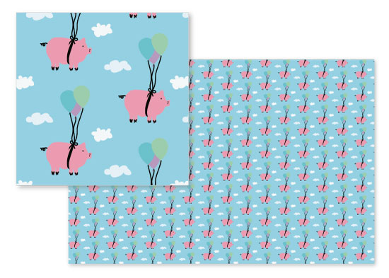 fabric - When Pigs Fly Blue Sky by Heather Doucette