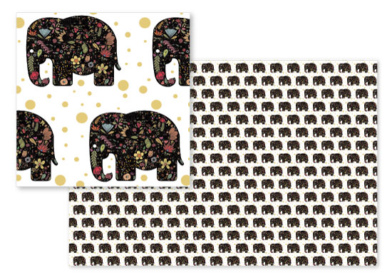 fabric - Floral Elephant by Heather Doucette
