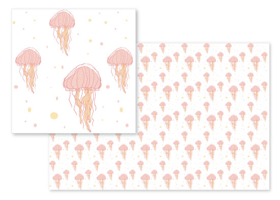 fabric - Jellyfish Bubbles by Heather Doucette